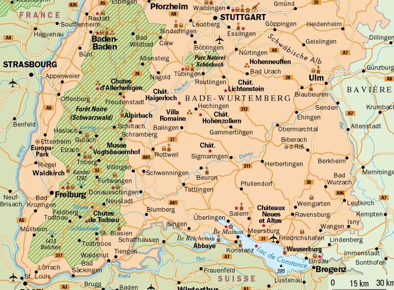 Carte Allemagne Ouest.Bad Wurtemberg